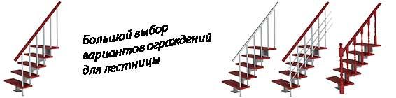 Варианты ограждений для модульных лестниц